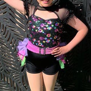 Curtain Call Dance Costume Sequin Embellished Unitard Child Medium